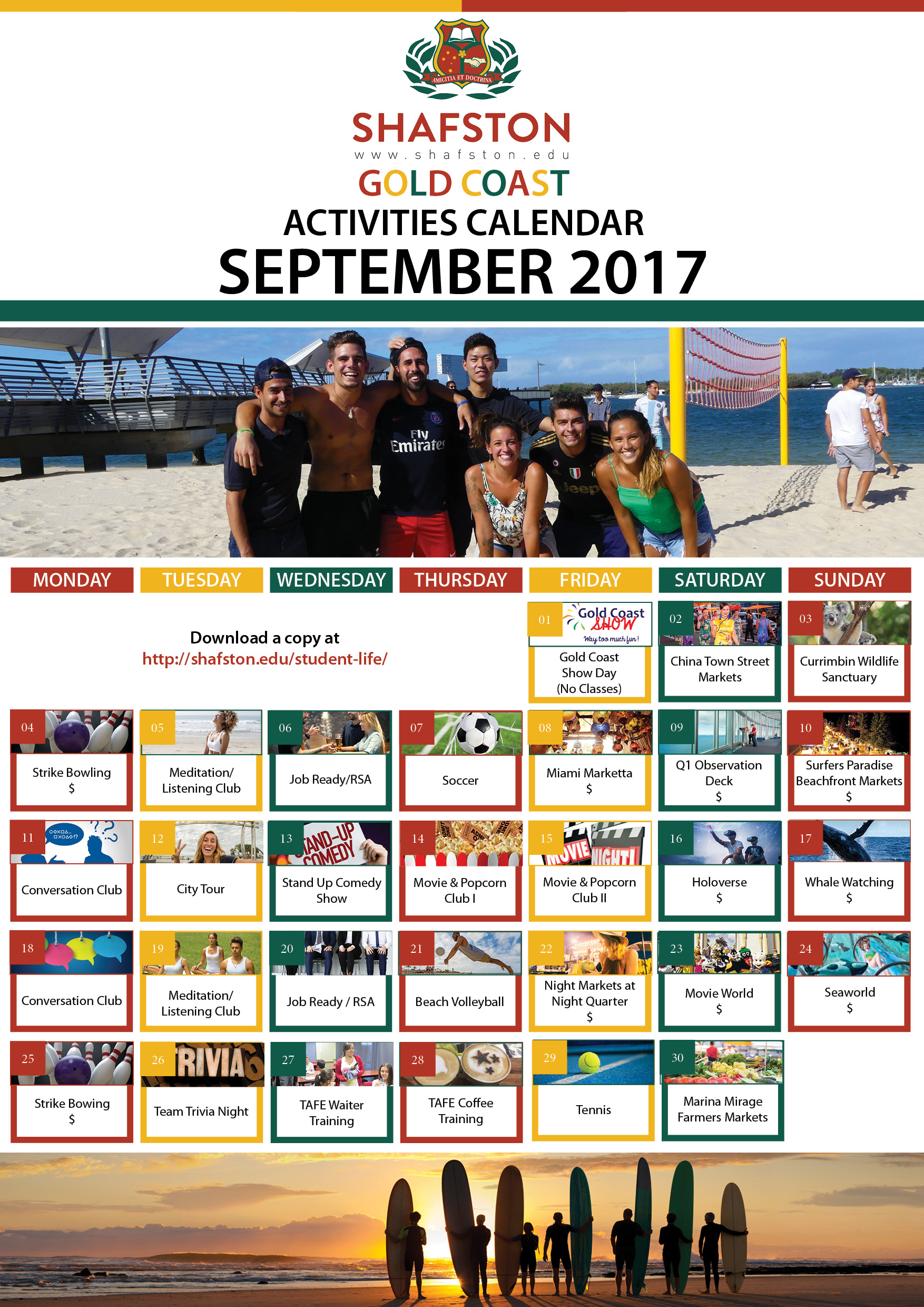 September 2017 Calendar (Gold Coast)